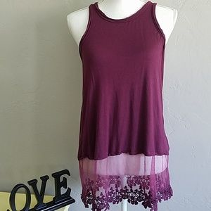 Marlow Purple Raw Edge& Lace Tank Tunic M